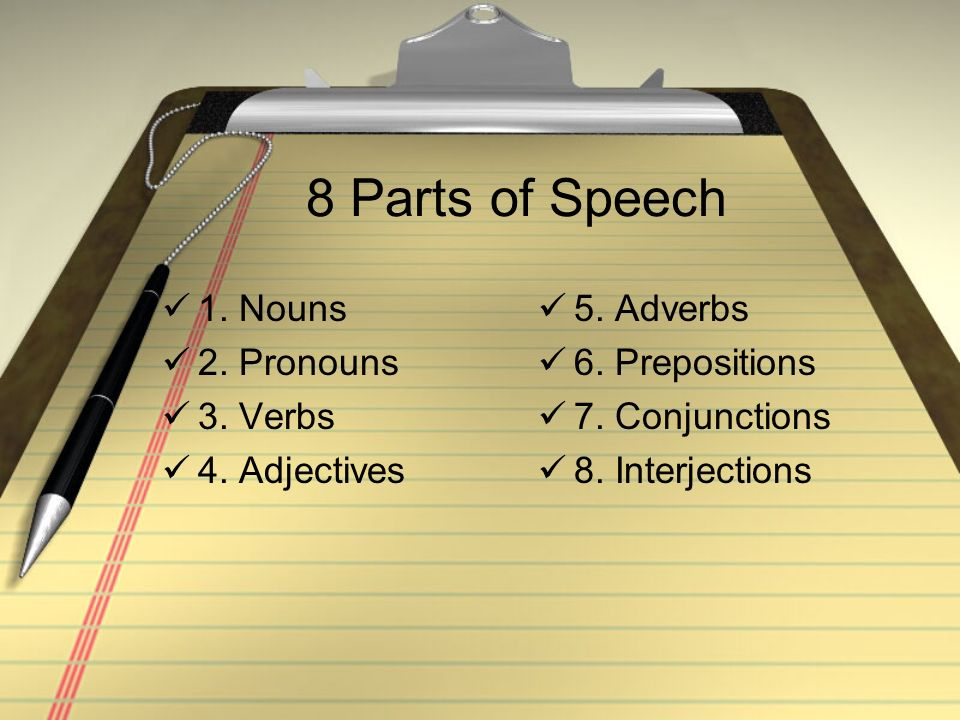 8 Parts of Speech 1. Nouns 2. Pronouns 3. Verbs 4. Adjectives