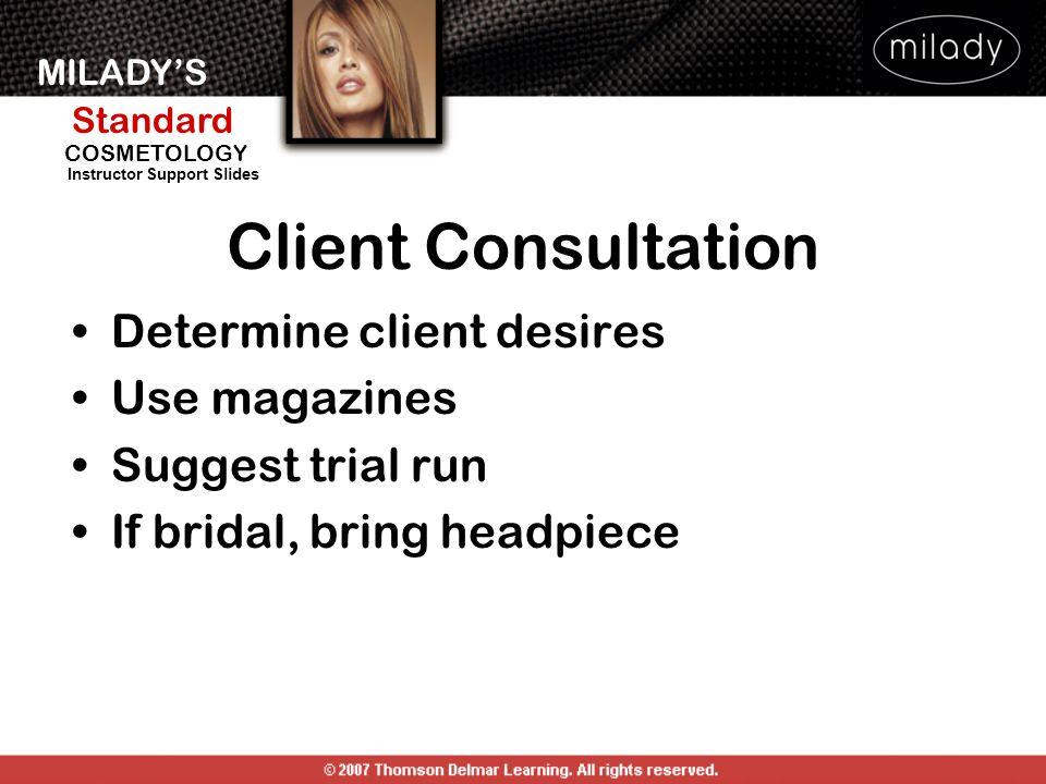 Client Consultation Determine client desires Use magazines