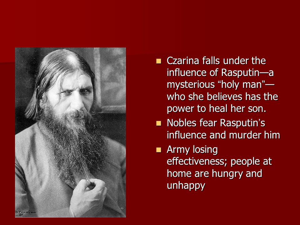 Czarina falls under the influence of Rasputin—a mysterious holy man —who she believes has the power to heal her son.