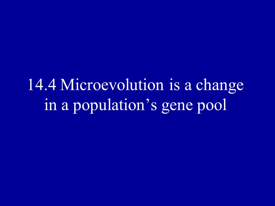 14.4 Microevolution is a change in a population's gene pool