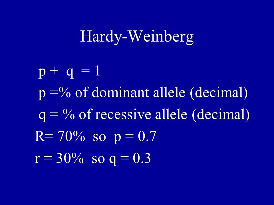 Hardy-Weinberg p + q = 1 p =% of dominant allele (decimal)