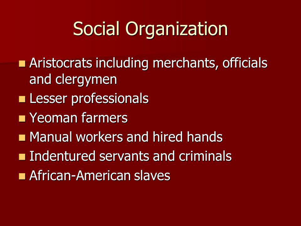 Social Organization Aristocrats including merchants, officials and clergymen. Lesser professionals.