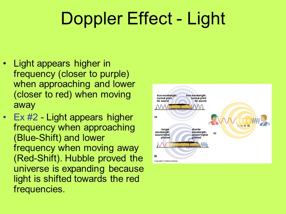 Doppler Effect - Light Light appears higher in frequency (closer to purple) when approaching and lower (closer to red) when moving away.
