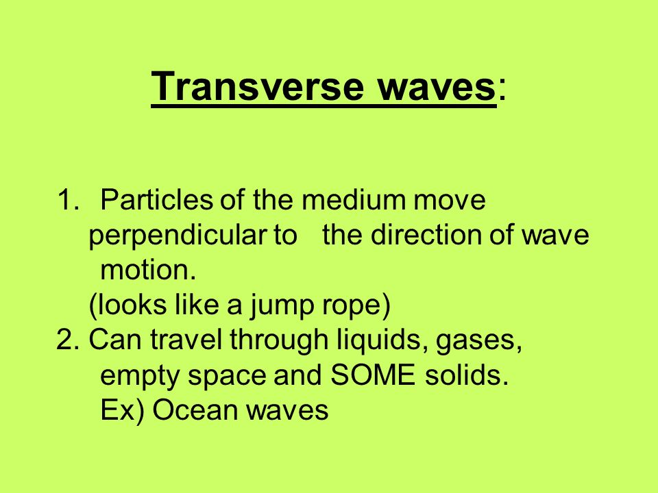 Transverse waves: Particles of the medium move