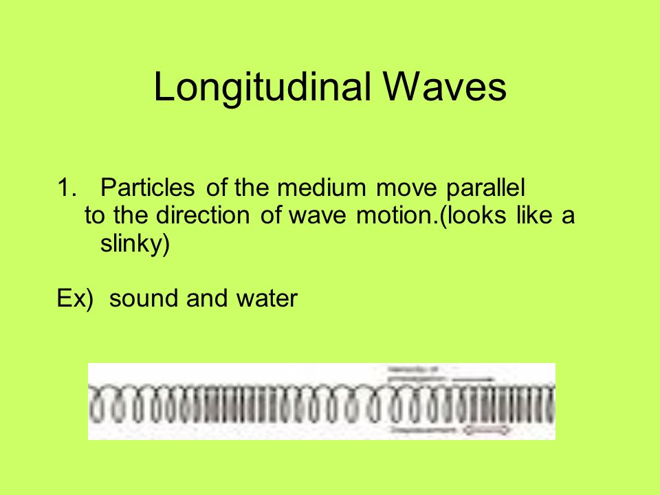 Longitudinal Waves Particles of the medium move parallel