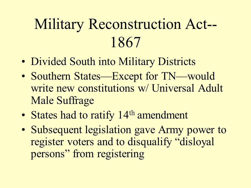 Military Reconstruction Act--1867