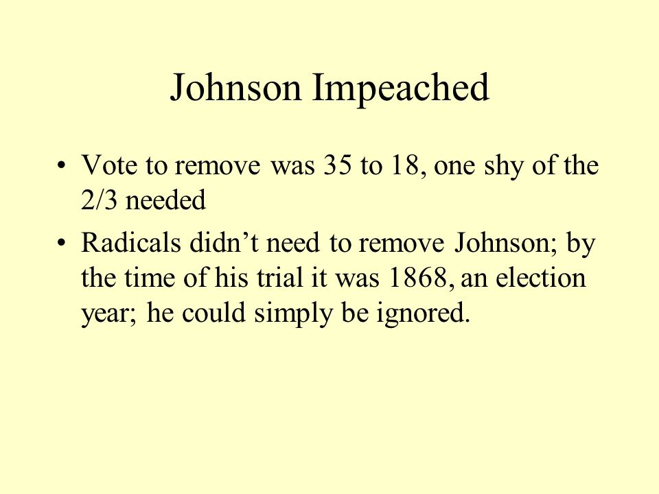 Johnson Impeached Vote to remove was 35 to 18, one shy of the 2/3 needed.