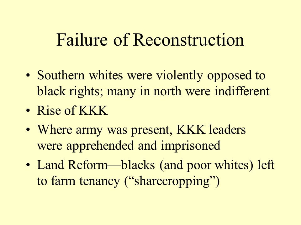 Failure of Reconstruction