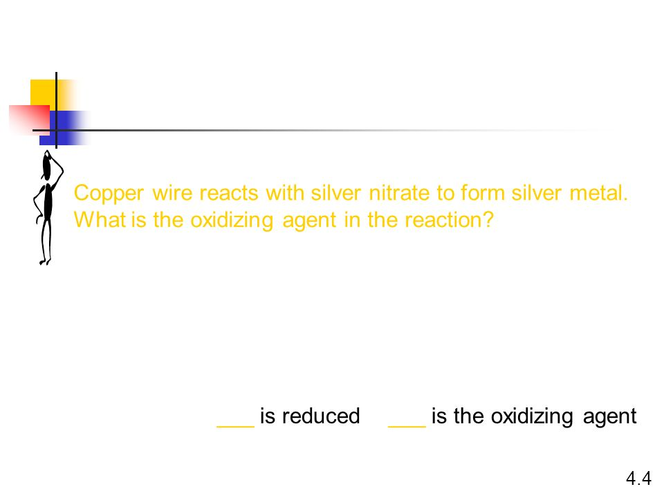 Copper wire reacts with silver nitrate to form silver metal.