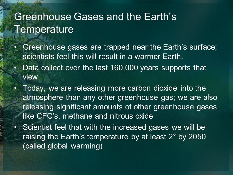 Greenhouse Gases and the Earth's Temperature