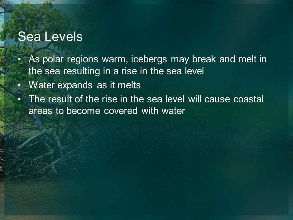 Sea Levels As polar regions warm, icebergs may break and melt in the sea resulting in a rise in the sea level.