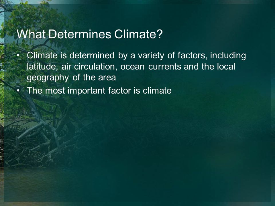 What Determines Climate