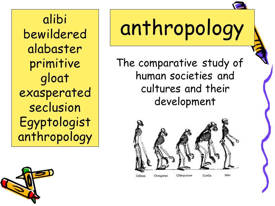 anthropology alibi bewildered alabaster primitive gloat exasperated