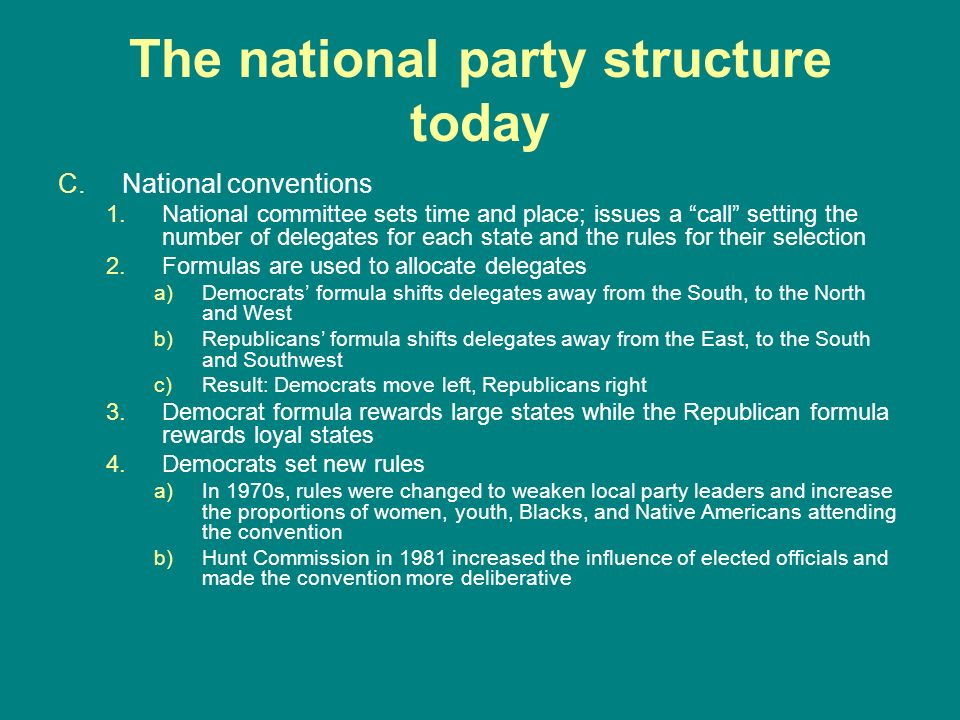 The national party structure today