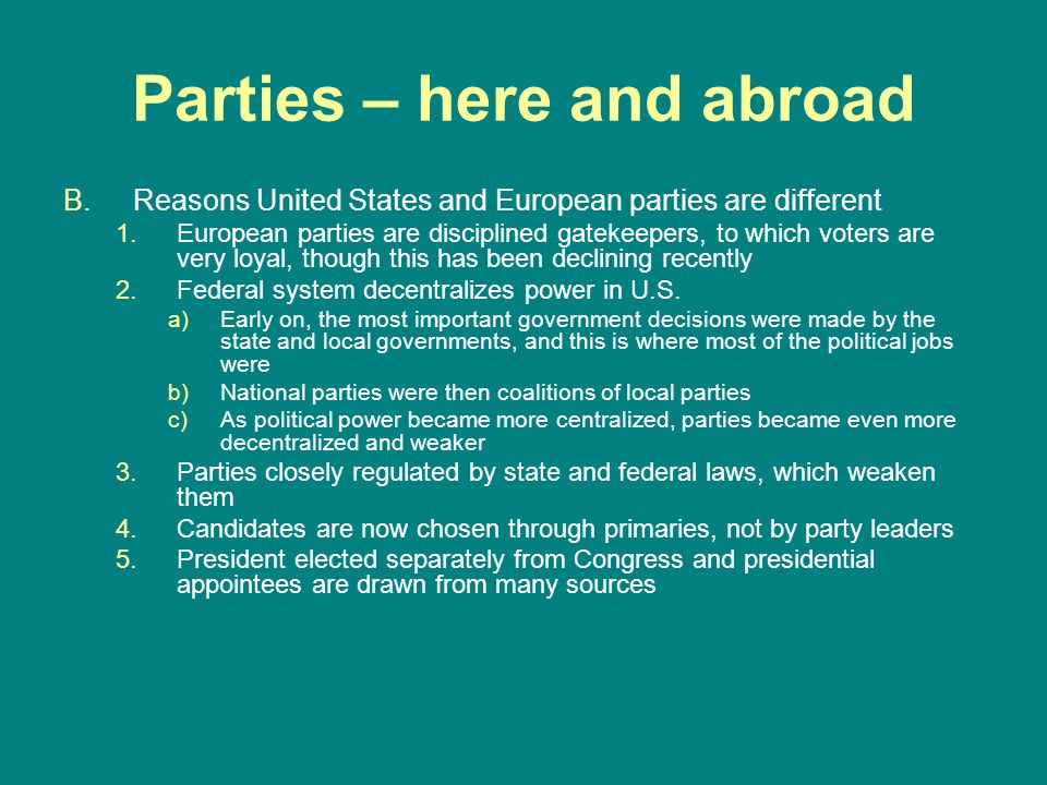 Parties – here and abroad