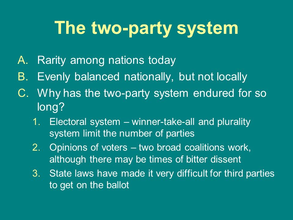 The two-party system Rarity among nations today