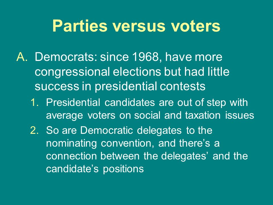 Parties versus voters Democrats: since 1968, have more congressional elections but had little success in presidential contests.