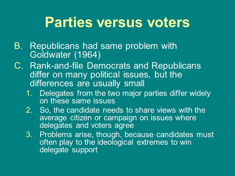 Parties versus votersRepublicans had same problem with Goldwater (1964)