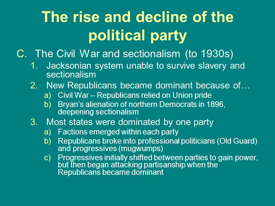 The rise and decline of the political party