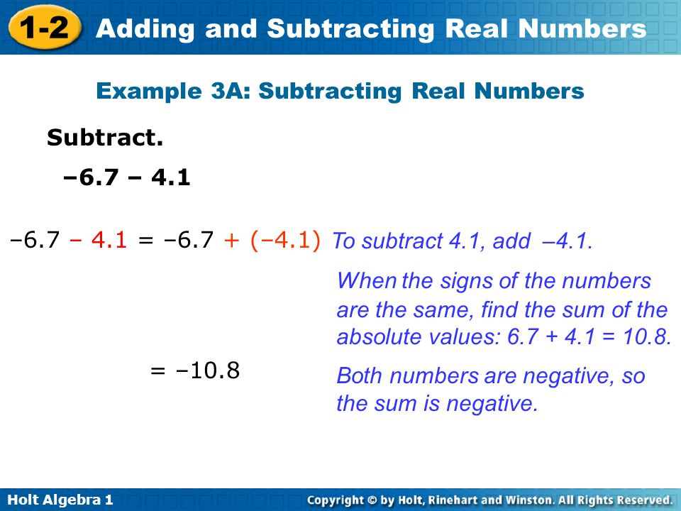 Example 3A: Subtracting Real Numbers