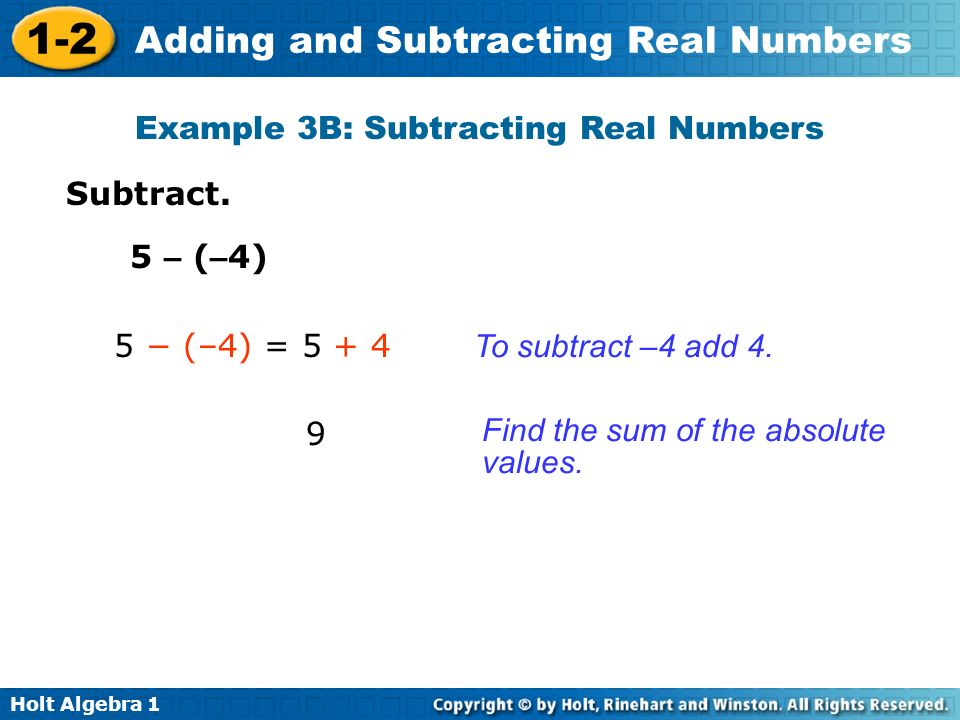 Example 3B: Subtracting Real Numbers