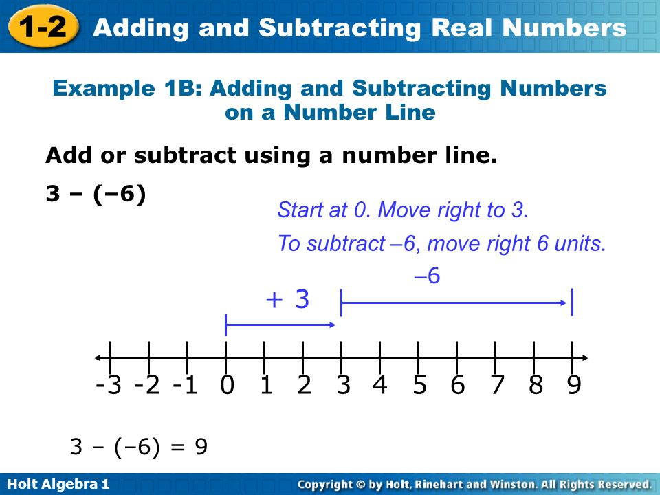 Example 1B: Adding and Subtracting Numbers