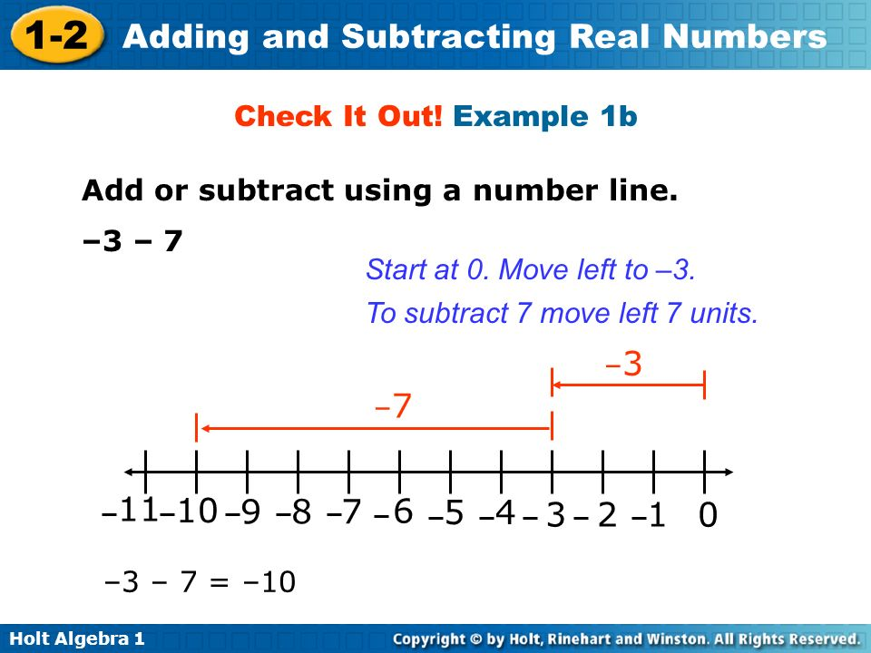 Check It Out! Example 1b Add or subtract using a number line. –3 – 7. Start at 0. Move left to –3.