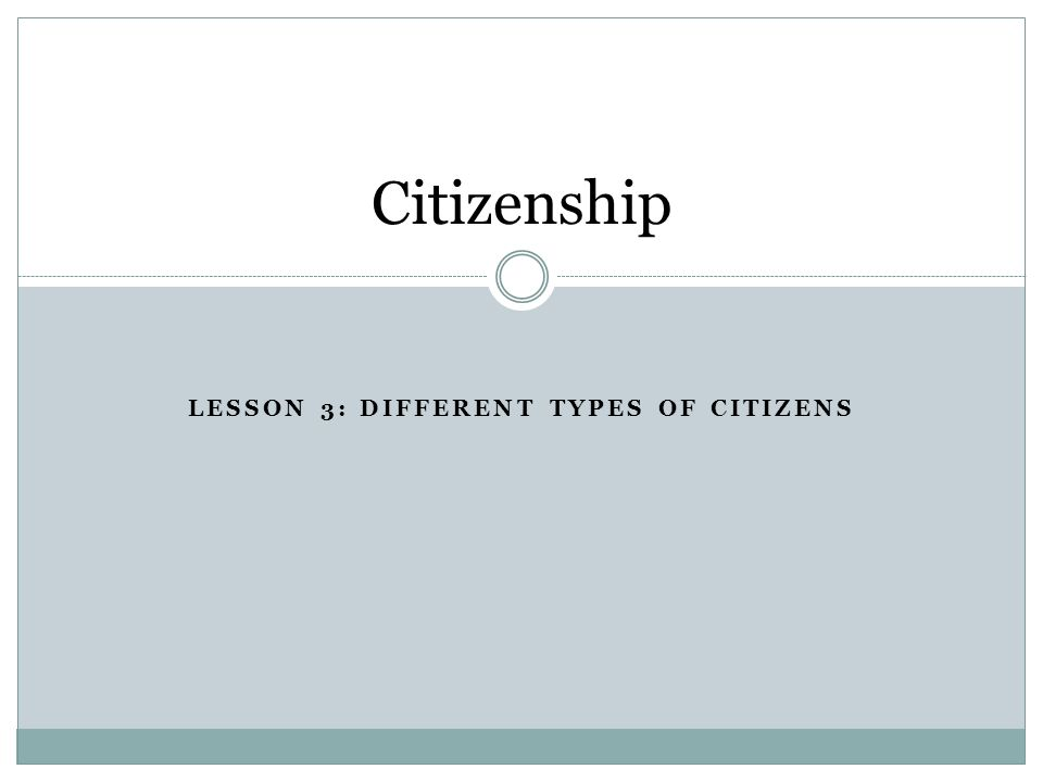 Lesson 3: Different types of citizens
