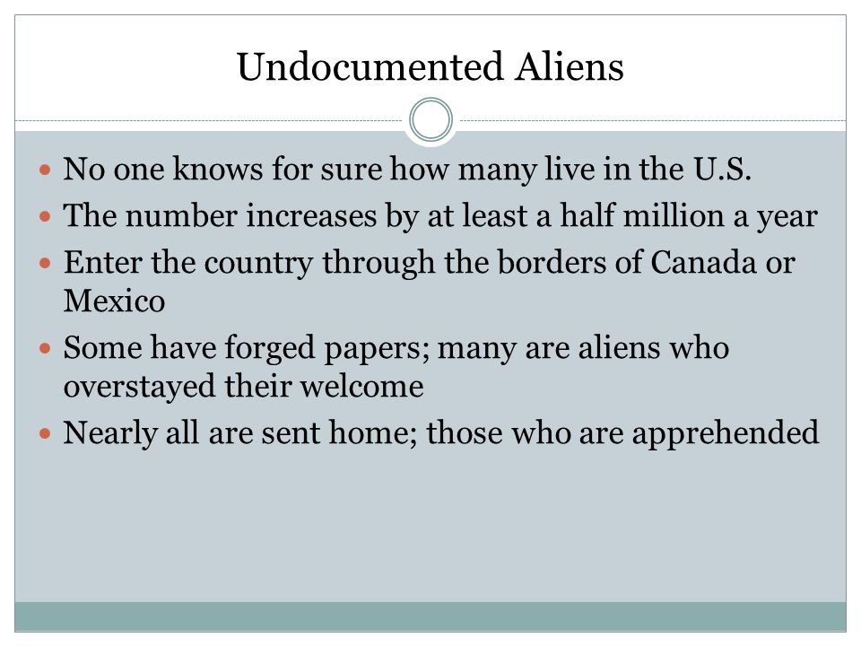 Undocumented Aliens No one knows for sure how many live in the U.S.