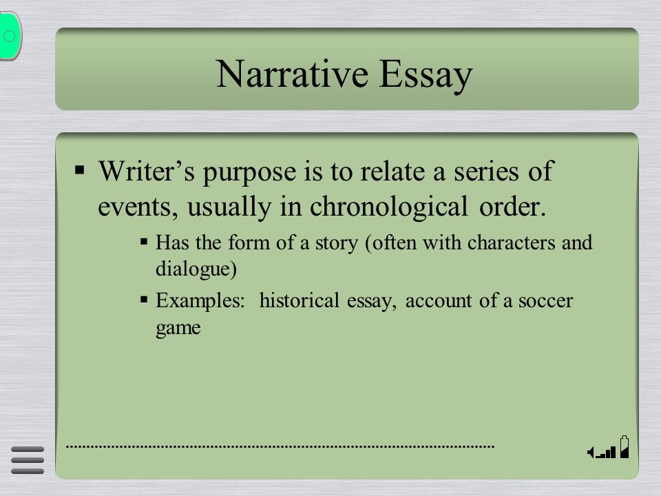 Narrative Essay Writer's purpose is to relate a series of events, usually in chronological order.