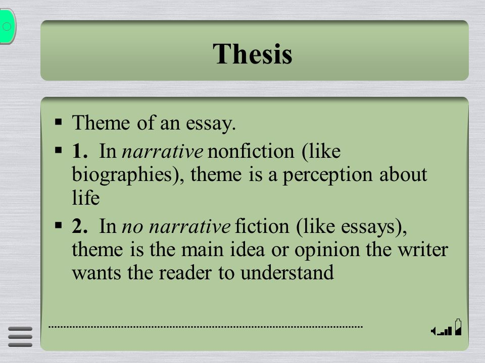 Thesis Theme of an essay.