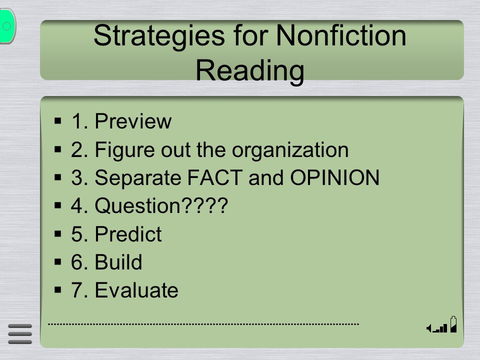 Strategies for Nonfiction Reading