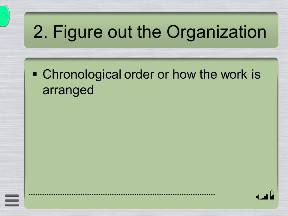 2. Figure out the Organization