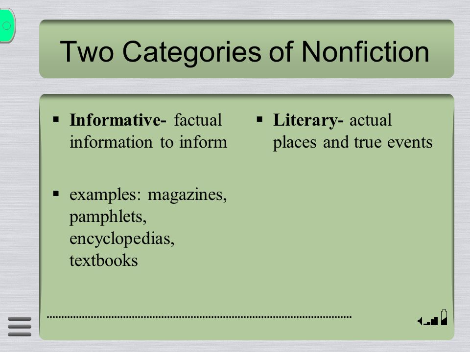 Two Categories of Nonfiction