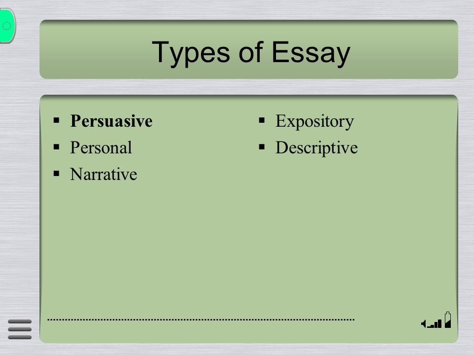 Types of Essay Persuasive Personal Narrative Expository Descriptive