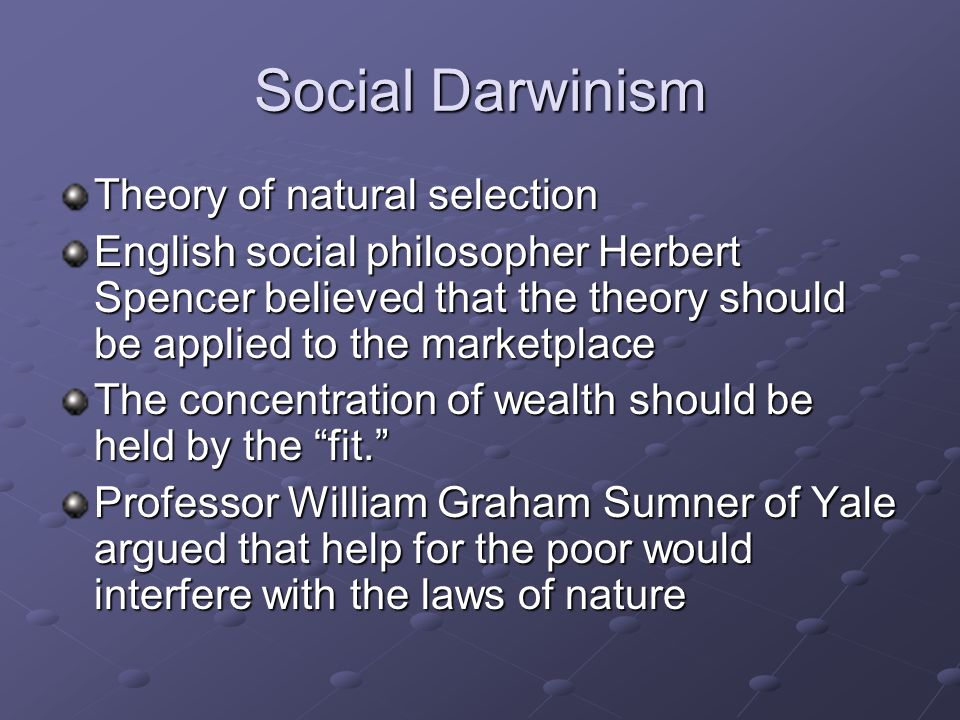 Social Darwinism Theory of natural selection