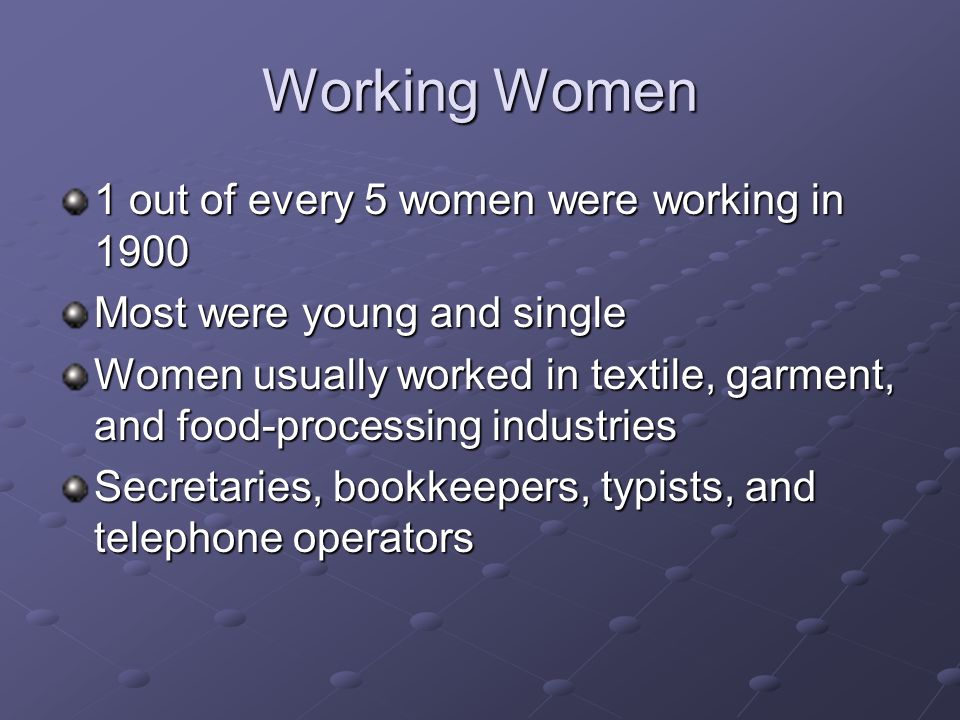 Working Women 1 out of every 5 women were working in 1900