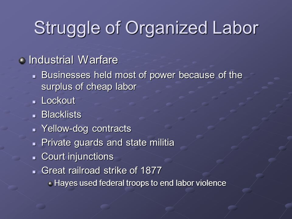 Struggle of Organized Labor