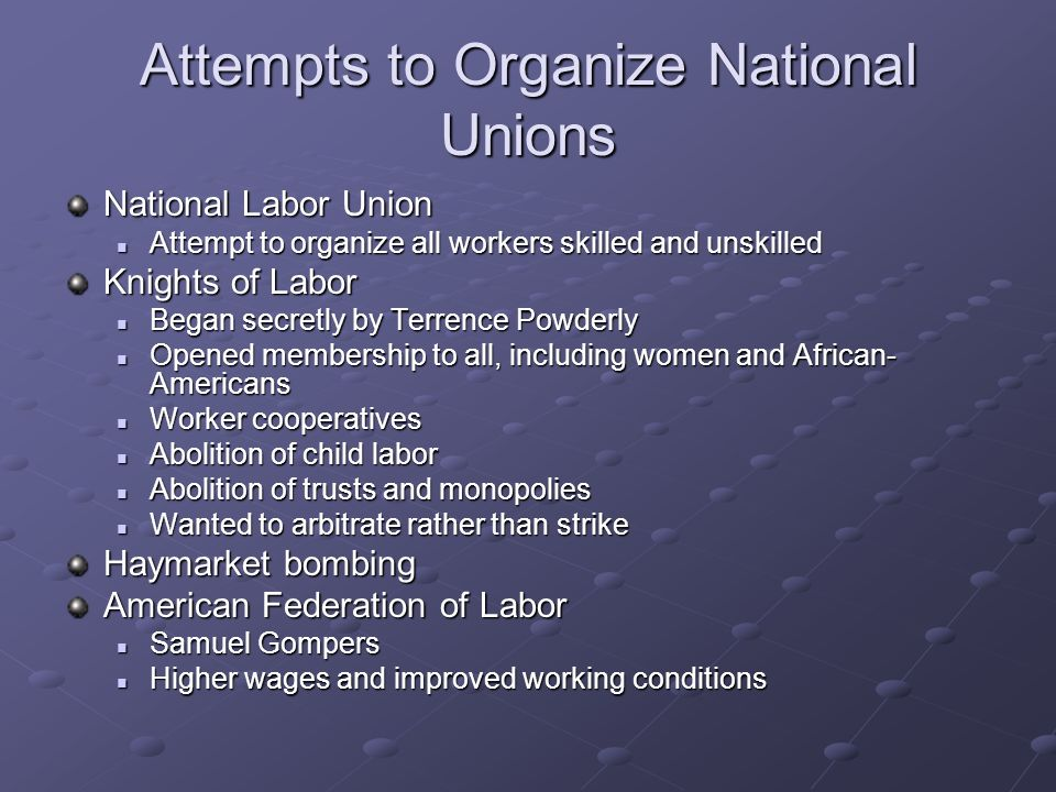 Attempts to Organize National Unions