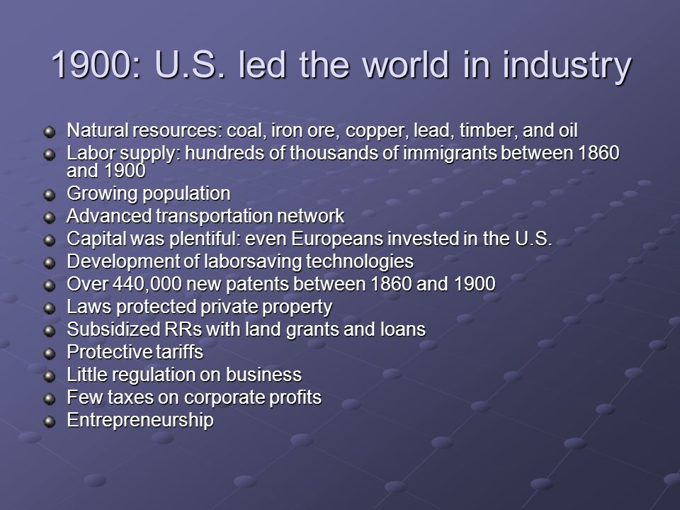 1900: U.S. led the world in industry
