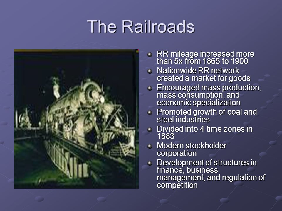The Railroads RR mileage increased more than 5x from 1865 to 1900