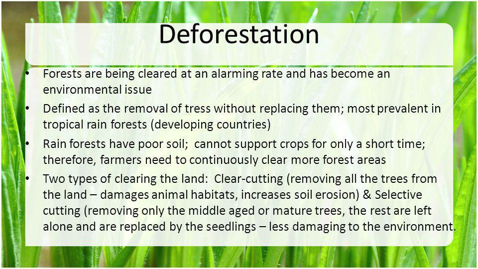 Deforestation Forests are being cleared at an alarming rate and has become an environmental issue.