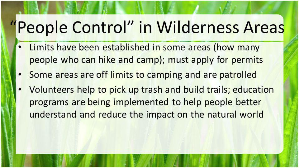 People Control in Wilderness Areas