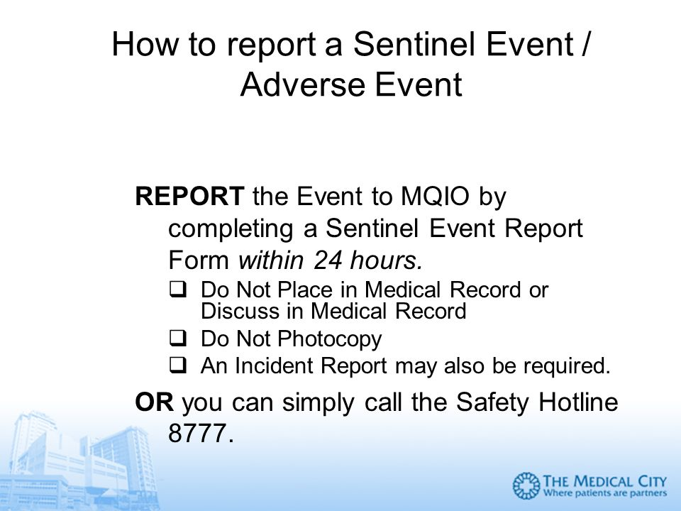 Sentinel events and near miss reporting analysis and prevention how to report a sentinel event adverse event altavistaventures Gallery