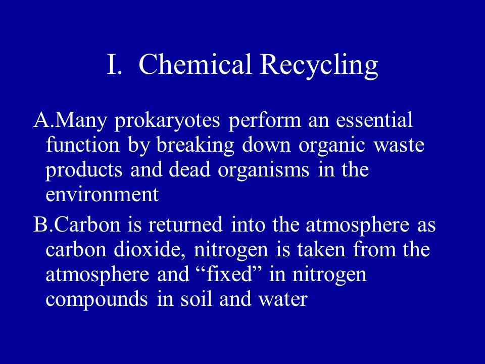 I. Chemical Recycling A.Many prokaryotes perform an essential function by breaking down organic waste products and dead organisms in the environment.