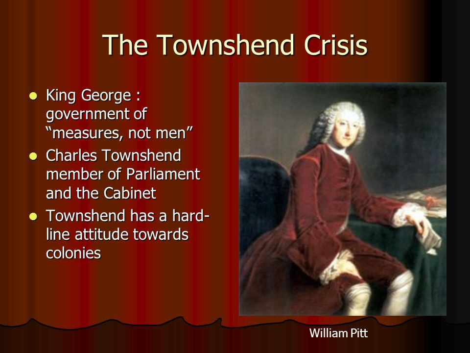 The Townshend Crisis King George : government of measures, not men