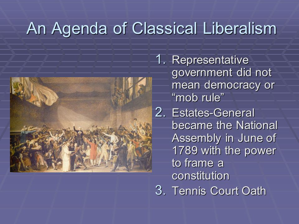 An Agenda of Classical Liberalism