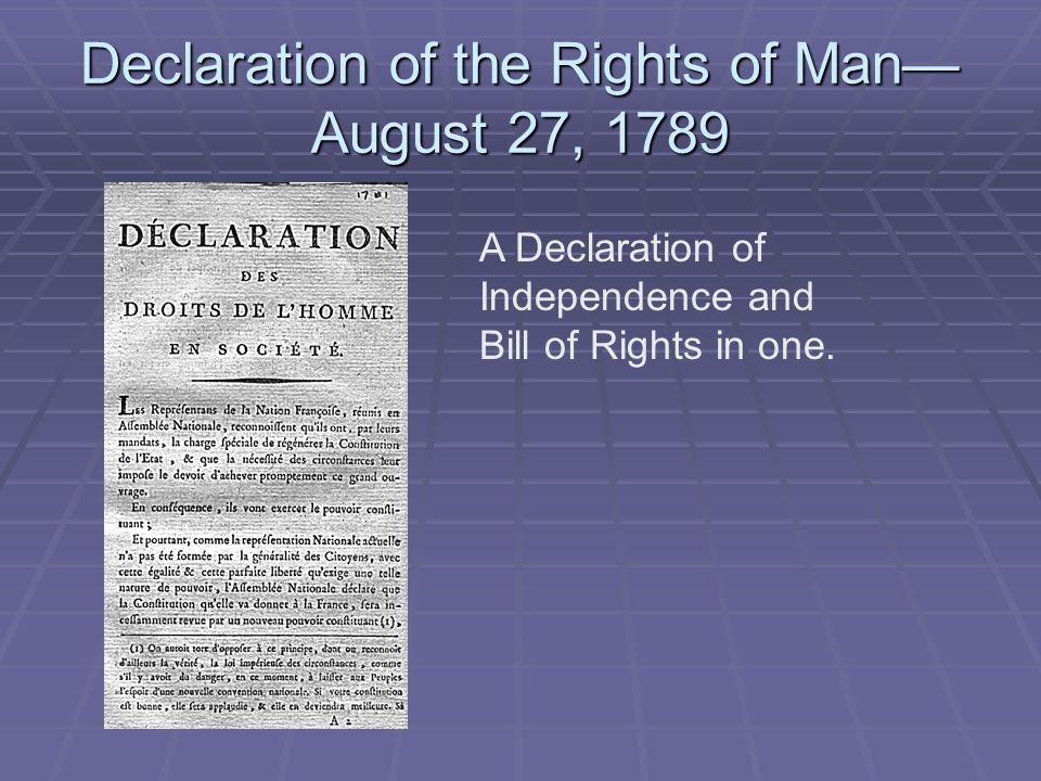 Declaration of the Rights of Man—August 27, 1789
