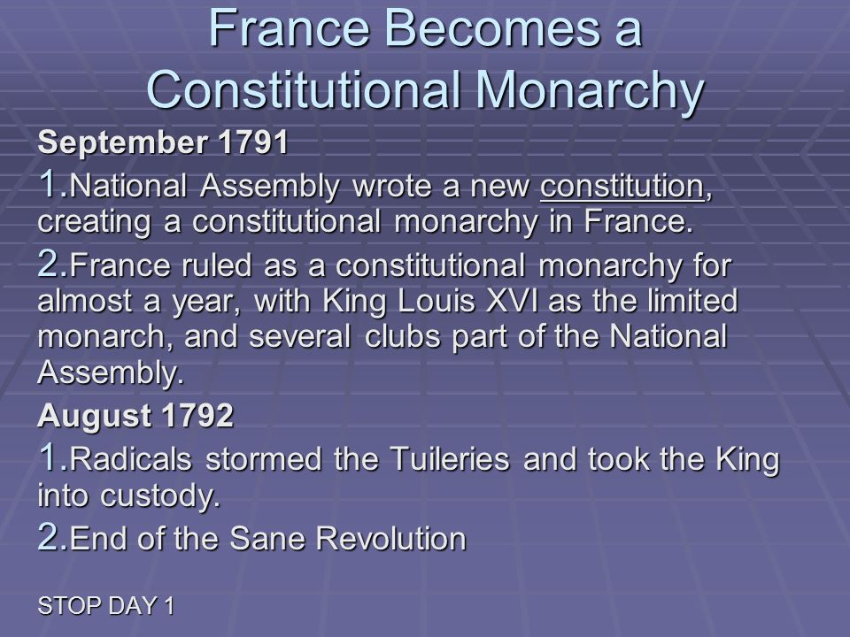 France Becomes a Constitutional Monarchy