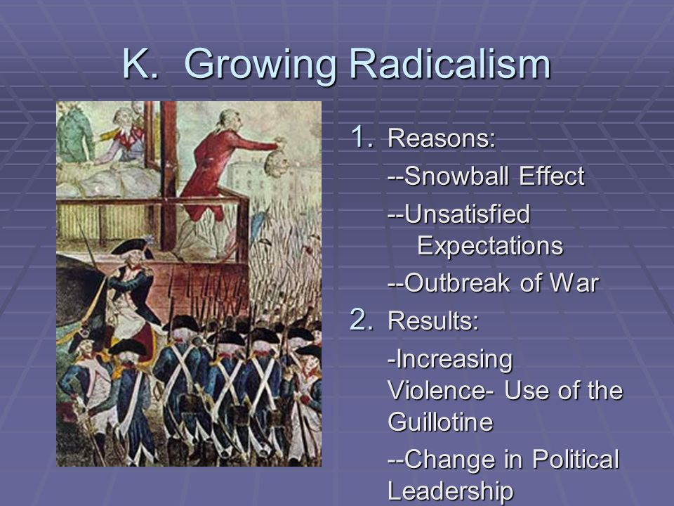 K. Growing Radicalism Reasons: --Snowball Effect